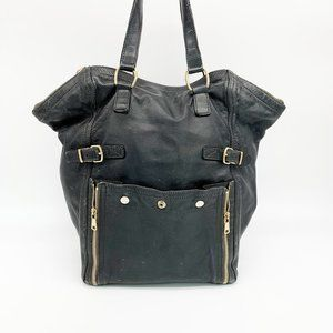 YVES SAINT LAURENT Downtown Leather Tote Bag Black